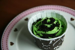 Mint cupcake with oreo bits by memoriesque