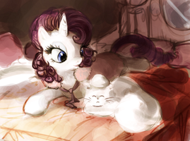 MLP 4: Rarity and Opal by The-Keyblade-Pony