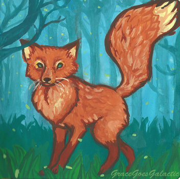 Fox on a summer evening by GalacticGraceArtwork