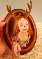 Deer plaque girl by Woodedwoods