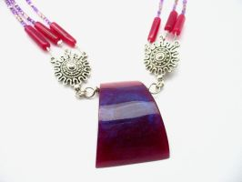 Purple and fushia necklace by TopazTurtle