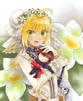 Saber Bride and her Master by Julianita