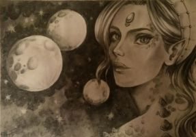 Charcoal Alien Girl by Toto-the-cat
