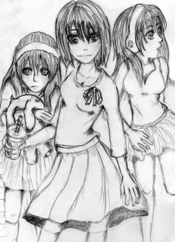 Three Girls by Queen-of-Potatoes