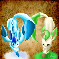 leafeon and glaceon c: lineles by Destinyatas