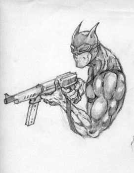 batman with gun by gombez