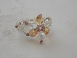 ring bicone flower champagne clear AB 411e by Quested-Creations