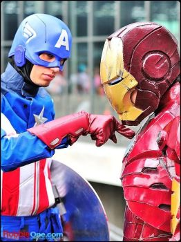 Iron Man and Captain America (Avengers) Cosplay by indyjones78