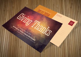 Giving Thanks Church Postcard Template by loswl