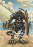 Saurian pirate lord by pictishscout