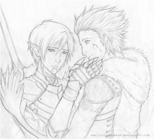 DA 2 Sketch - Hawke x Fenris by LittleBreeze