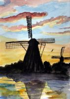 Sunset Windmills by Tater-Vader