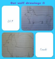 Our wolf drawings by Lil-9