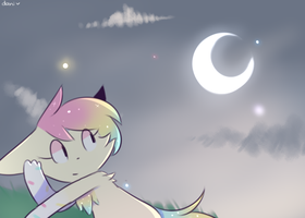 looks at moon by Milkii-Ways