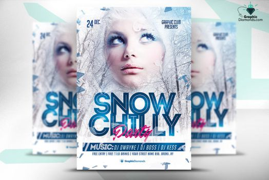 Snow Chilly Party Flyer by GraphicDiamonds