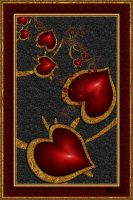 Red Ruby Hearts by LaxmiJayaraj