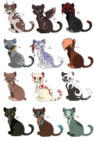 Lots of adoptables by Searii
