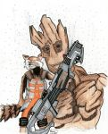 Rocket and Groot by buttmuffinzombie