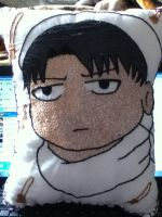 Embroidered Cleaning Levi Pillow by Frozenpoletongue