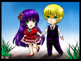 Chibi Rei and Sharlin by shrimpHEBY