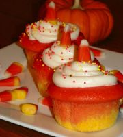 Candy Corn Cupcakes by Bimmi1111