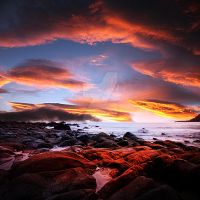 Sea Shore Sunset by MBHenriksen