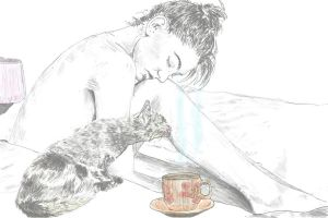 Morning with cat and tea by Dreamplayer