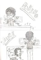 Sketches: Poking Bruce by Freaky-chan