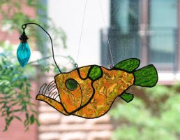 Golden Green Tailed Anglerfish Stained Glass by trilobiteglassworks