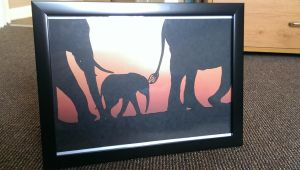 paper cut elephant silhouette by swiftflik