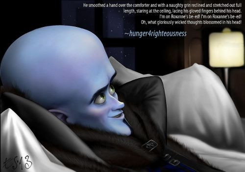 Megamind trying out Roxanne's bed by eleathyra