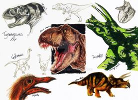 NHM Sketches: Dinosaurs 2 by HeavyClaw