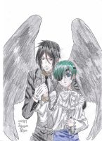 Sebastian Michaelis and Ciel Phantomhive {Color} by vivian123123