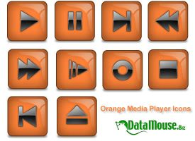 Orange Media Player Icons by datamouse