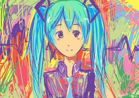 Hatsune Miku Scribble Speedpaint by angelaalee
