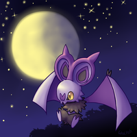 Noibat full moon by TwitchyGears