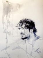 Unusual man by Anna Dart. rain, tears, watercolour by AnnaDart
