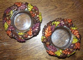 Autumn leaves candle holders by ladytech