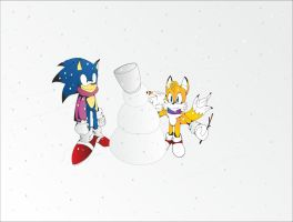 SONIC AND TAILS MAKING SNOWMAN by Braist