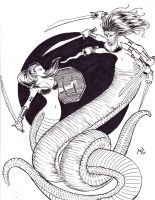 Naga vs. Marilith Commission by MichaelPowellArt