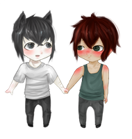 Two chibis (commission) by Byukyun