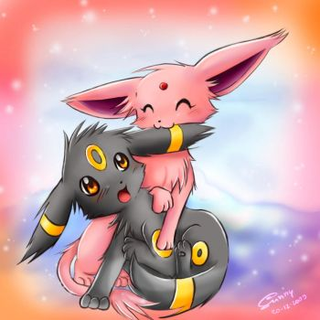 Umbreon and Espeon - NOMNOM by sunshineikimaru