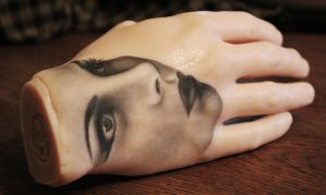 Portrait Hand Tattoo by lovedolphins10409
