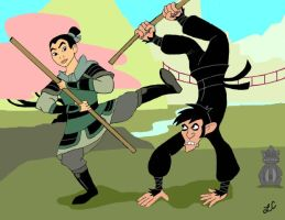 Mulan Versus Monkey Fist by LMColver