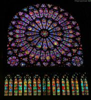 Stained glass in The Notre Dame Paris by Hansmar