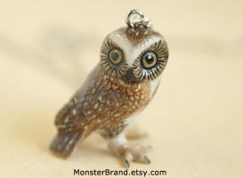 Brown Owl Necklace by foowahu-etsy