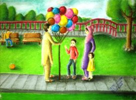 Figure Composition: Balloons and Park by Mari945