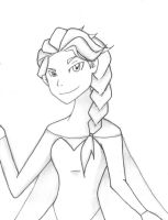 Sketch and ink : Princess Elsa from Frozen by ultra-zaya