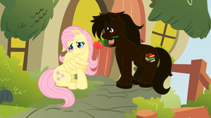 Vector: Fluttershy and Cocoa Bean - the Flower by kyleevee