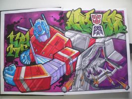 Optimus Prime vs Megatron by Airosoul